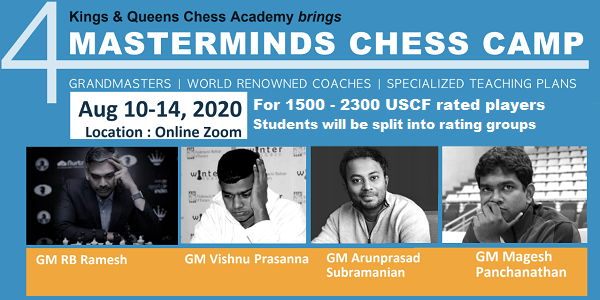 4 Masterminds Chess Camp. August 10-14, 2020