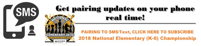 Subscribe Pairing to SMS for National Elementary Chess Championship