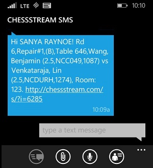 Sample screenshot pairing to SMS/Text from ChessStream